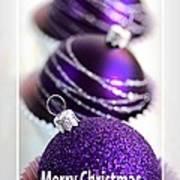 Merry Christmas Purple Baubles Art Print