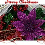 Merry Christmas Red Ribbon Art Print