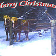 Merry Christmas Sleigh Art Print