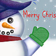 Merry Christmas Snowman Art Print