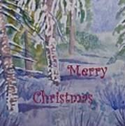 Merry Christmas - Snowy Winter Path Art Print