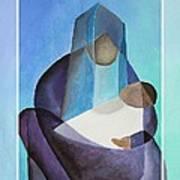 Merry Christmas Virgin Mary And Child  Art Print