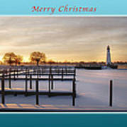 Merry Christmas Winter Marina And Lighthouse Art Print