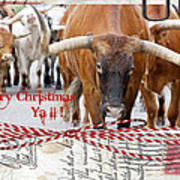 Longhorns Merry Christmas Ya'll Art Print