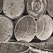 Metal Barrels 2bw Art Print