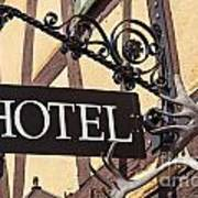 Metal Hotel Sign Art Print