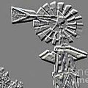 Metal Print Of Old Windmill In Gray Color 3009.03 Art Print
