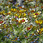 Metal Sunflowers Art Print