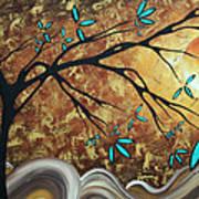 Metallic Gold Textured Original Abstract Landscape Painting Apricot Moon By Madart Art Print