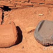 Metates At Wupatki Pueblo In Wupatki National Monument Art Print