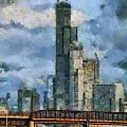 Metra Train View Sears Willis Tower Mixed Media 03 Art Print