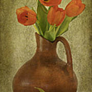 Mexican Water Jug With Poppies Art Print