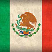 Mexico Flag Vintage Distressed Finish Art Print