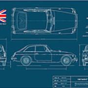 Mgb Gt Blueplanprint Art Print