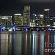 Miami At Night Art Print