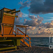 Miami Beach Lifeguard Station Glows From The First Light Of Day - Panoramic Art Print