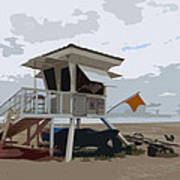 Miami Beach Lifeguard Station II Abstract Art Print