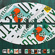Miami Dolphins Football Recycled License Plate Art Art Print