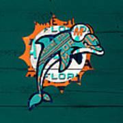 Miami Dolphins Football Team Retro Logo Florida License Plate Art Art Print