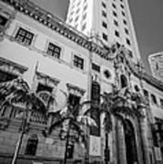 Miami Freedom Tower 1 - Miami - Florida - Black And White Art Print