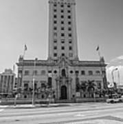 Miami Freedom Tower 3 - Miami - Florida - Black And White Art Print