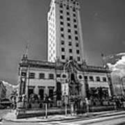 Miami Freedom Tower 4 - Miami - Florida - Black And White Art Print