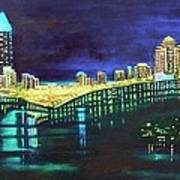 Miami Skyline Of Lights Art Print