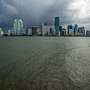 Miami Skyline Storm Art Print