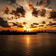 Miami Skyline Sunset Art Print