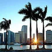 Miami Skyline Viewed Over Marina Art Print