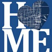 Miami Street Map Home Heart - Miami Florida Road Map In A Heart Art Print