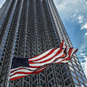 Miami's Financial Center And Old Glory Art Print by Rene Triay Photography