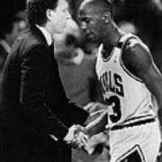 Michael Jordan Talks With Coach Art Print