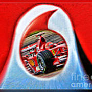 Michael Schumacher Though The Logo Art Print