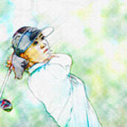 Michelle Wie Hits Her Tee Shot On The Sixth Hole Art Print
