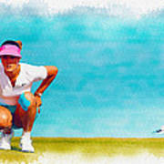 Michelle Wie Lines Up A Putt On The Eighth Green Art Print