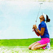 Michelle Wie Of The United States Reacts After Missed Off To A B Art Print