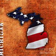 Michigan Amercian Flag State Map Art Print