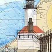 Michigan City Lighthouse In Nautical Chart Map Art Cathy Peek Art Print