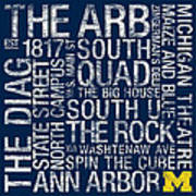 Michigan College Colors Subway Art Art Print by Replay Photos