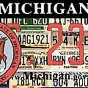 Michigan License Plate Art Print