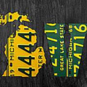 Michigan Love Recycled Vintage License Plate Art State Shape Lettering Phrase Art Print by Design Turnpike
