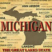 Michigan State Pride Map Silhouette  Art Print
