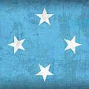 Micronesia Flag Vintage Distressed Finish Art Print