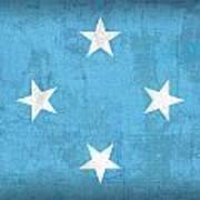 Micronesia Flag Vintage Distressed Finish Art Print