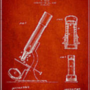 Microscope Patent Drawing From 1865 - Red Art Print