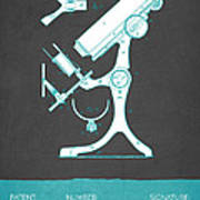 Microscope Patent From 1886  - Gray Turquoise Art Print