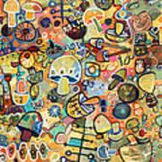 Mid Century Mushroom Madness Art Print