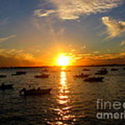 Mid Summer Sunset Over The Island Art Print