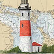 Middle Island Lighthouse Mi Cathy Peek Nautical Chart Art Art Print